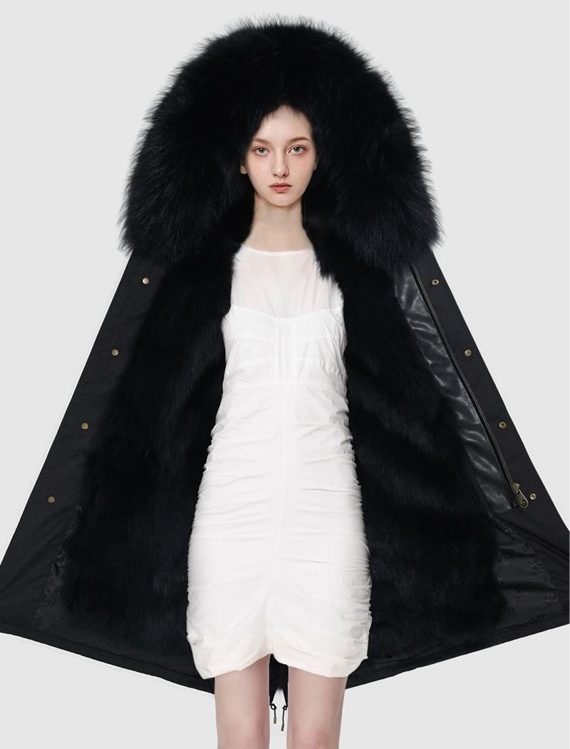 OZLANA皮草大衣 黑色(长款)+经典黑色狐狸毛 AU202002-2 Black(Long)+Classic Black Fox