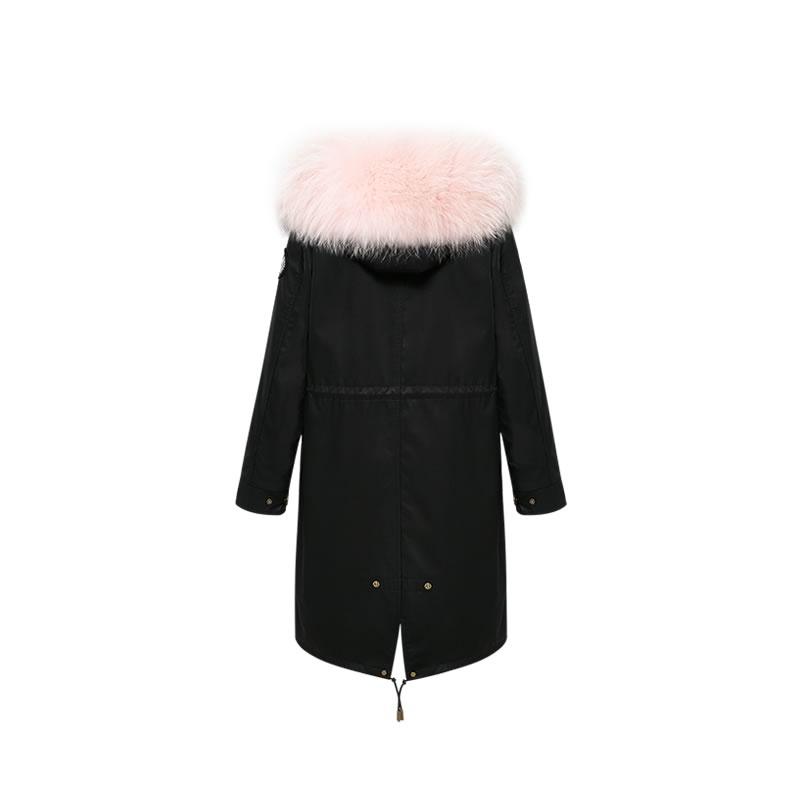 OZLANA皮草大衣 黑色(长款)+经典黑色狐狸毛 AU202003-2 Black(Long)+Classic Pink Raccoon