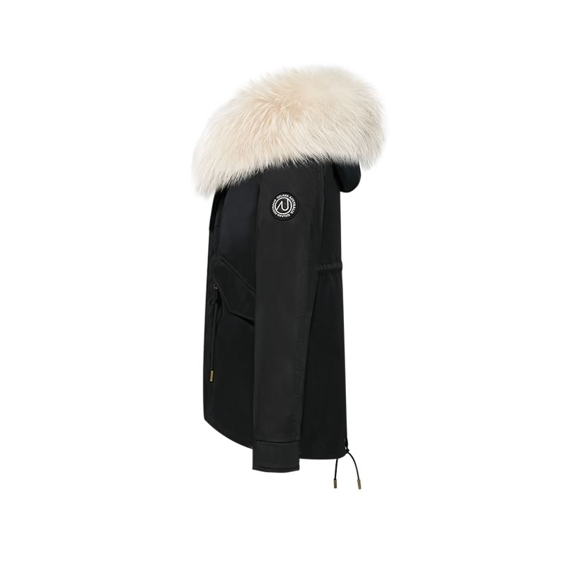 OZLANA皮草大衣 黑色(短款)+经典奶茶色貉毛 AU202004-1 Black(Short)+Classic Creamy Raccoon