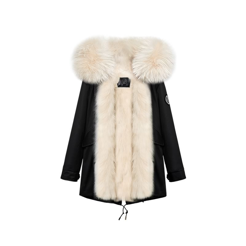 OZLANA皮草大衣 黑色+经典奶茶色貉毛 AU202004 Black+Classic Creamy Raccoon