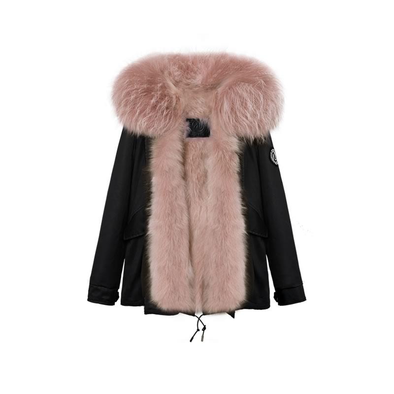OZLANA皮草大衣 黑色(短款)+经典脏粉色貉毛 AU202005-1 Black(Short)+Classic Dusty Pink Raccoon