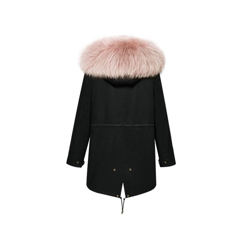 OZLANA皮草大衣 黑色+经典脏粉色貉毛 AU202005 Black+Classic Dusty Pink Raccoon